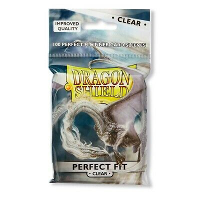 100 Protèges Cartes/Sleeves Dragon Shield Perfect Fit Clear Transparent