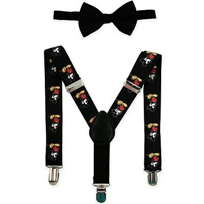 Disney Mickey Mouse Black Suspender and Bow tie toddler Baby Boys Suspenders