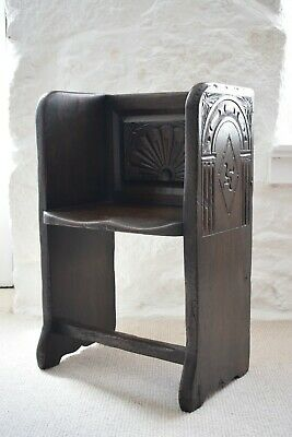 Antique Carved Oak Single Church Pew Style Hall Seat, Small Pew, Oak Bench Seat