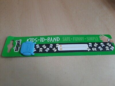 Sigel Re-useable Kids ID Band Wristband Name Contact  Holiday Safety Skulls Boys