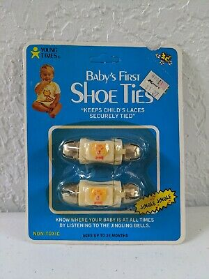 Vintage Young Times Baby's First Shoe Ties, Jingling