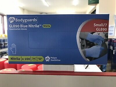 Polyco Bodyguards Blue Nitrile Disposable Medical Gloves GL890 SMALL SIZE