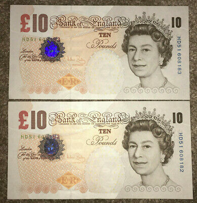 BANK OF ENGLAND: 2x £10 pounds banknotes Consecutive & UNC condition HD51 608182
