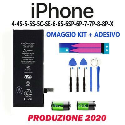 BATTERIA PER APPLE IPHONE 4-5s-6s-6sp-7-8-X plus RICAMBIO COMPATIBILE ORIGINALE