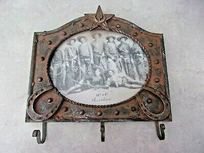 """Cast Iron Wall Key Hook Holder Picture Frame 10"""" x 8""""  Western Cowboy Horseshoes"""