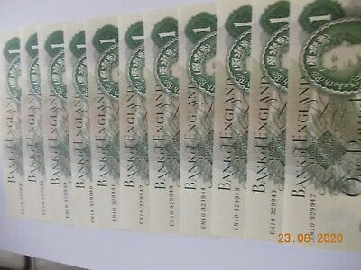 1960's-1970's BANK OF ENGLAND ONE POUND  11 notes, consec. No's & uncirculated.