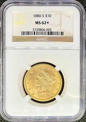 1886-S • $10 American Gold Eagle Liberty Head • NGC MS62+ • LUSTROUS Pre33 Coin!