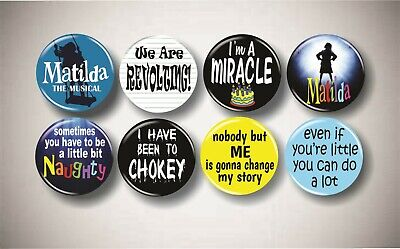 """Wicked Broadway Musical Theater Inspired Buttons Set 8 Pins 1.25/"""" Shirt Decor"""