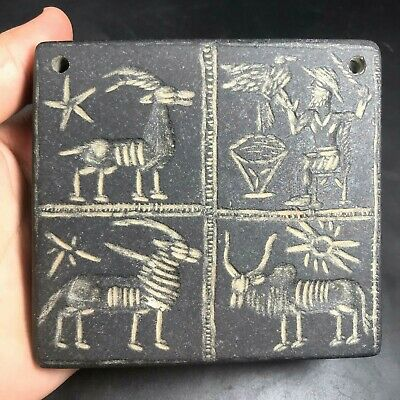 Near Eastern Sassanian Ancient Very Old Rare Black Stone Intaglio Relief Tablet