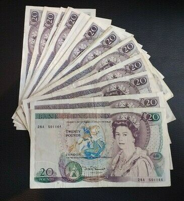 English paper money - choose denomination and cashier - wide selection available