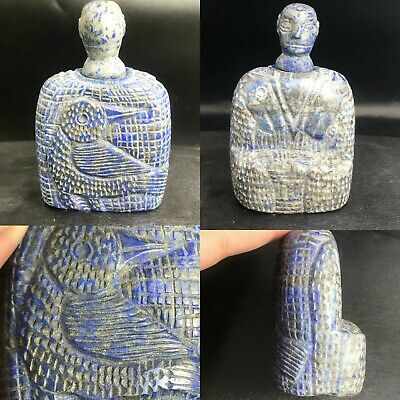 Rare Ancient Old lapis Lazuli Stone Prince Seated Statue From Afghanistan