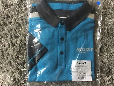Amazon Employee Polo Shirt, Blue Uniform, Delivery Driver, Mens (M) BRAND NEW
