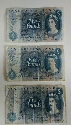 Old £5 five pound notes lot (3 different cashiers: Hollom , Fforde , Page)