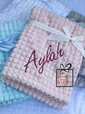 PERSONALISED BABY SOFT FLUFFY waffle BLANKET -NAME/crown EMBROIDERED fleece