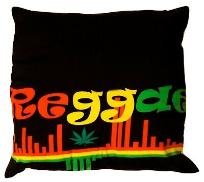 "Bob Marley Rasta Heart Cannabis Leaf Reggae 18/"" x 18/"" Filled Sofa Cushion"