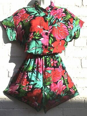Vintage 1980s jumpsuit romper tropical Tiki Hawaiian baggy oversized one size