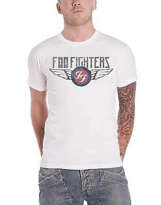Foo Fighters T Shirt Flash Wings Band Logo distressed new Official Mens White