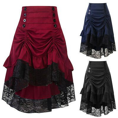 Punk Rave Victorian VTG Ruffle Bustle Skirt Women Lace SteamPunk Gothic Dresses