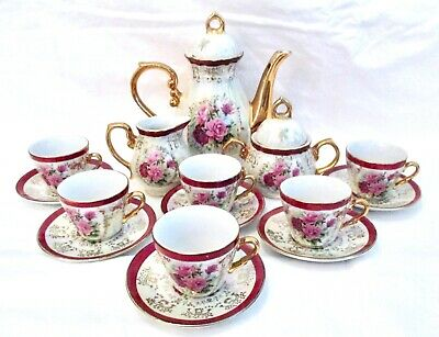 VINTAGE 17 Pc FINE PORCELAIN TEA SET VICTORIAN PINK ROSES MOTHER OF PEARL