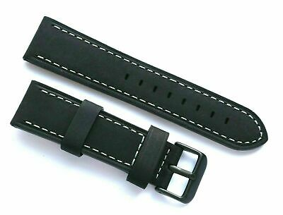 22mm Black Crazy Horse Leather Replacement Watch Band - TW Steel 22 Black Tone