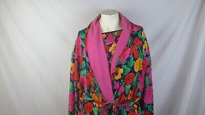 Vtg Victoria Secret Gold Label floral terry lined robe and night shirt