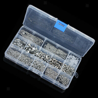 580pcs Jewelry Findings Kit Lobsters Clasp Jump Rings Jewelry Crafts White K