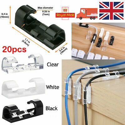 20X Self Adhesive Wire Cable Cord Clips Clamp Table Wall Tidy Holder Organizer R