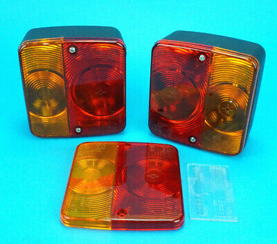 2 x RADEX Rear Small Lamp Lights with Replacement LENS for Trailer & Horsebox