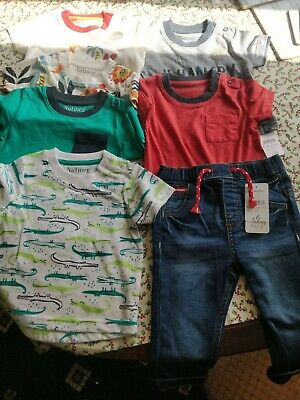 Bnwt Boys Nutmeg Bundle Size 6/9 Months 6 Tops And Jeans Bargain