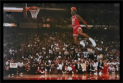 FRAMED Michael Jordan - Foul Line Dunk 36x24 Sports Art Print Poster