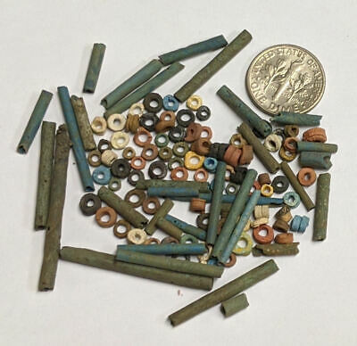 More than a Hundred 2500 Year old Ancient Egyptian Faience Mummy Beads (#M891)