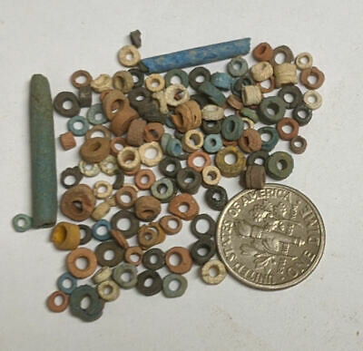More than a Hundred 2500 Year old Ancient Egyptian Faience Mummy Beads (#M1120)