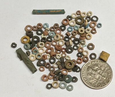 More than a Hundred 2500 Year old Ancient Egyptian Faience Mummy Beads (#M1122)