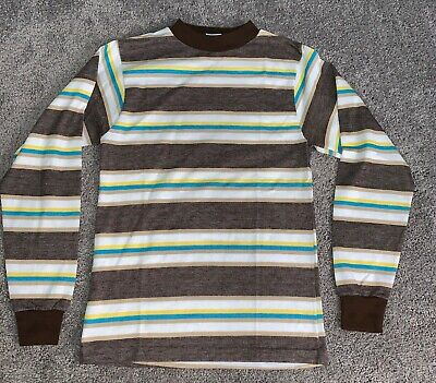 Vintage 70s Kids Childrens Boy Ski  Brown Christmas Long Sleeve T Shirt stripes