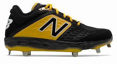 New Balance Low-Cut 3000v4 Metal Baseball Cleat Mens Shoes Black with Yellow