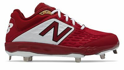 New Balance Low-Cut 3000v4 Metal Baseball Cleat Mens Shoes Red with White