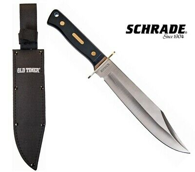 Schrade Old Timer Bowie knife Saw cut Handle with Sheath Free Shipping