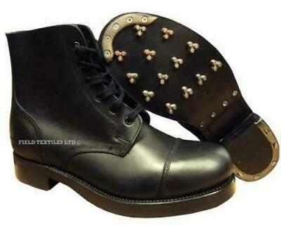 Genuine British ARMY Hobnail Ammo Marching Boots Plain Leather Black NEW