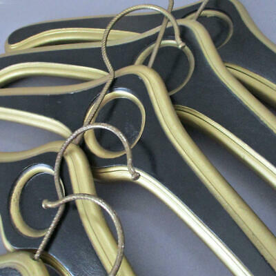 """Lot of 8 Vintage Solid WOOD Black + GOLD 18"""" Coat Hangers * Palm Beach HOTEL"""