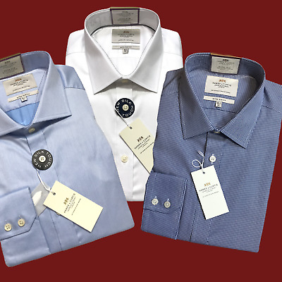 """3 Hawes & Curtis Shirts Blue White Slim Fit 16.5"""" Cotton Long Sleeve Single Cuff"""