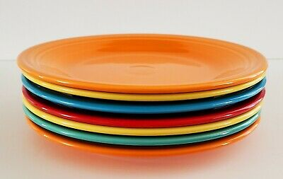"Set Of 7 Homer Laughlin Fiestaware Mixed Color Dinner Plates 10.5"" Bistro"