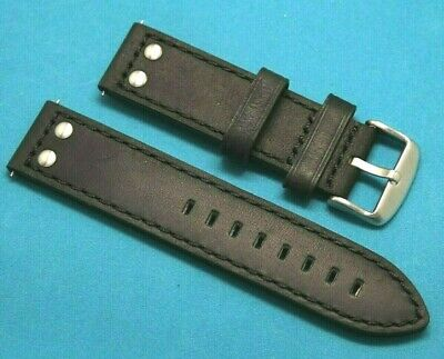 22mm Replacement BLACK Rivet Style Crazy horse Leather Watch Band - TW Steel 22