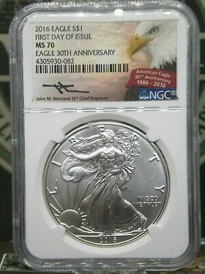 2016 $1 American Silver Eagle NGC MS70 30th Anniversary ECC&C, Inc.