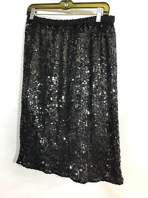 Scala Sequin Skirt Elastic Black Formal Holiday Knee Length