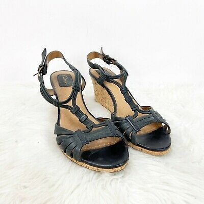 Clarks 7.5 M Womens Black Leather Ankle Strap Cork Wedges Sandals
