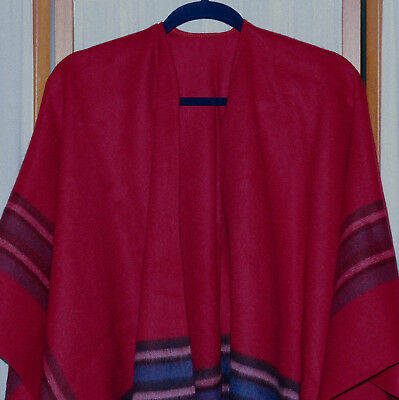 Women's Wrap Cape Cashmere Blend Stripe Extremely Soft Elegant Red Blue Black