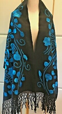 Hand Loomed & Embroidered Turquoise & Black Oversize Rebozo/Shawl