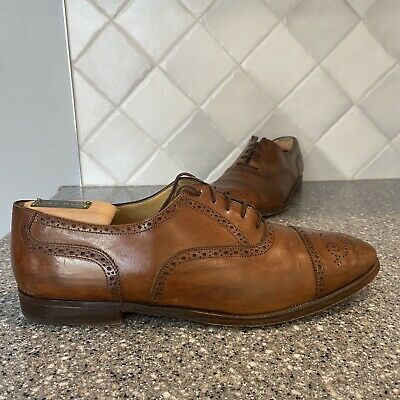 Italian Cole Haan Mens Tan Leather Wingtips Dress Shoes Size 10D 1777