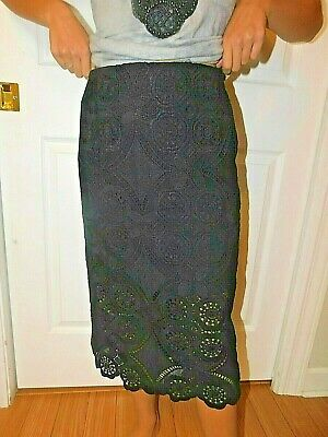 Abercrombie & Fitch Black Lace Midi Skirt Size 2 Nwt
