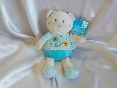 Doudou ours beige, bleu, broderies, Tex